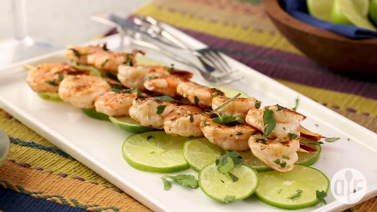 Grilled Cilantro lime shrimp kebabs-weight watchers recipes